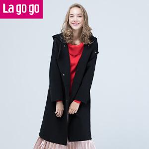 Lagogo2017冬季新款女装时尚中长款毛呢大衣气质修身呢子外套韩版