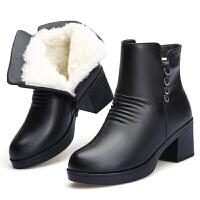 冬季新款妈妈棉鞋加绒保暖女棉靴粗跟羊毛短靴中年舒适马丁靴真皮 黑色5803 送鞋垫棉袜