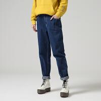 初语秋装 休闲简约宽松显瘦深色直筒牛仔长裤