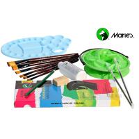 马利18色丙烯颜料8件套装 手绘墙绘颜料+画笔+调色板+调和液 美术用品
