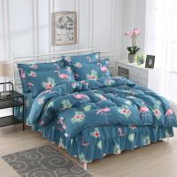 床罩床裙四件套韩式春夏季加厚床单裙式1.5m1.8m2.0米荷叶边4件套 墨绿色 幸福鸟【床裙款】
