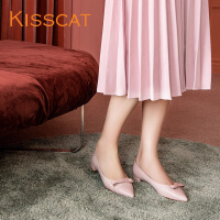 接吻猫2017秋新款甜美蝴蝶结羊皮尖头低跟浅口单鞋KA87531-12