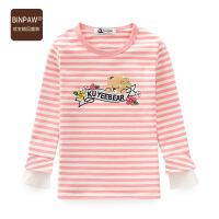 童装女童打底衫 18秋季新品洋气靓丽条纹卡通长袖圆领T恤女中大童