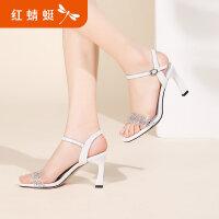 【红蜻蜓抢购,抢完为止】红蜻蜓鞋女夏季新款优雅高跟凉鞋细跟珍珠亮面一字带凉鞋
