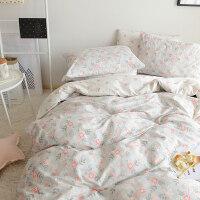 全棉四件套纯棉学生宿舍单人床上三件套1.8m床春夏季网红床单被套 2.0m(6 .6英尺)