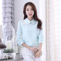 2018初春韩版新款娃娃领雪纺衫女长袖打底衫上衣衬衫女 浅绿色