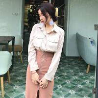 衬衫配裙子套装女学生春装2018新款女装韩版时髦两件套中长款气质