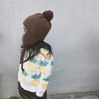 2018春秋亲子装ins儿童毛衣菠萝图案套头衫男女宝宝针织外套