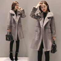 冬季中长款加厚保暖羊羔毛外套鹿皮绒棉衣女韩版修身 5566 高级灰