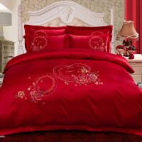 婚庆四件套蕾丝粉色 被套结婚床上用品喜庆纯棉六件套床品刺绣 桔红色 甜蜜约定-大红