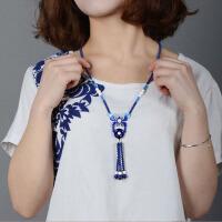 景泰蓝串珠项链女长款毛衣链民族风项链 送女友生日礼物