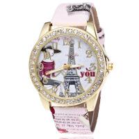 学生时尚小清新镶钻巴黎埃菲尔铁塔手表 数字皮带女士手表 印花手表