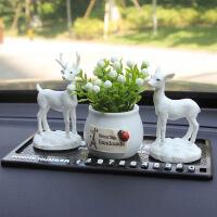 ?车内饰品摆件汽车装饰用品一路平安小鹿装饰品个性创意礼物