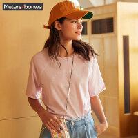 美特斯邦威 短袖T恤女2018夏装新款宽松上衣百搭打底五分袖韩版