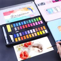 儿童 粉饼铁盒24/36色画画颜料绘画工具固体水彩颜料水彩画笔套装初学者绘画手绘学生