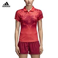 阿迪达斯adidas羽毛球服 2018新款休闲运动服 女子短袖polo衫