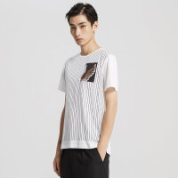 【1件2折到手价:59.8】MECITY男装夏季纯棉撞色竖条纹印花圆领短袖T恤