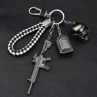 吃鸡三件套游戏AKM钥匙扣 98K三级头3几包平底锅模型AWM4钥匙挂件