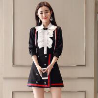 2018春装新款女装修身时尚小香风洋气时髦套装显瘦衬衫短裙两件套 黑色