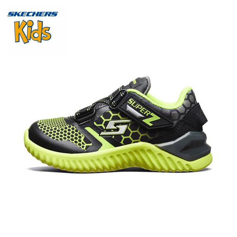 斯凯奇童鞋 (SKECHERS) 男童鞋 新款魔术贴 Z型搭带休闲鞋 轻便运动户外鞋97755N-BKLM 黑色/柠檬色(1岁—4岁)斯凯奇秋季新款