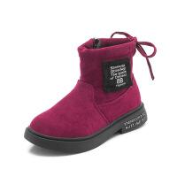 №【2019新款】冬天小朋友穿的女童靴中大童短靴英伦风小公主加绒棉靴儿童雪地靴