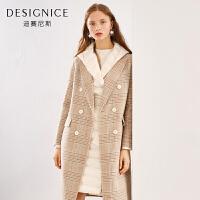 【到手参考价:810元】格子羊毛大衣双面呢中长款双排扣西装领迪赛尼斯冬季新款毛呢外套
