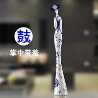 蜡烛台办公室桌面优雅家装饰工艺品现代中式青花瓷仕客厅摆件家居