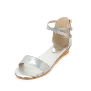 ELEISE美国艾蕾莎新品162-A85韩版超纤皮坡跟女士凉鞋