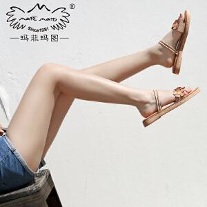 玛菲玛图新款凉鞋女平底一字带露趾花朵真皮波西米亚沙滩度假凉拖鞋M19810882T8