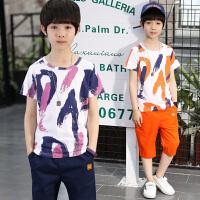 童装套装男童两件套儿童油漆套装短袖上衣+中裤2018新款夏季