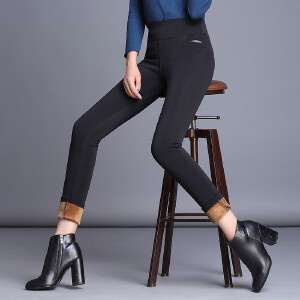 加绒打底裤女外穿长裤加厚弹力新款韩版大码胖mm小脚裤子女冬