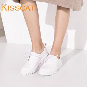 KISSCAT接吻猫女鞋春女士运动鞋系带镂空小白鞋DA76599-51