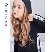 【2件1.5折价:52.2元】铅笔俱乐部童装秋冬新款女童针织长袖连衣裙连帽设计大童长裙儿童
