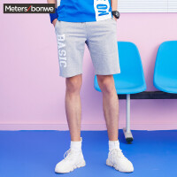 美特斯邦威 休闲短裤男装夏季新款潮流字母印花运动针织中裤