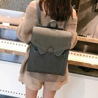 多用英伦复古双肩包女韩版pu皮中学生书包定型背包休闲包
