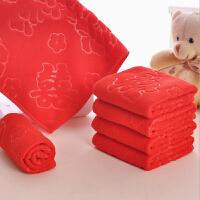 婚庆用品红色磨毛压花毛巾 结婚礼品细纤维小方巾