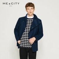 【1件3折到手价:103.5】MECITY男装斜襟短款轻薄休闲羊毛呢大衣外套男