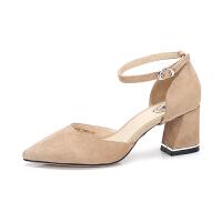 camel 骆驼女鞋 2018春季新款 通勤尖头高跟鞋简约腕带浅口粗跟单鞋女
