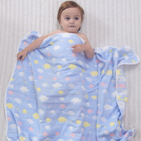 婴儿浴巾纱布洗澡新生儿毛巾被子宝宝盖毯抱被吸水儿童空调被 6层多彩天空蓝 110x110