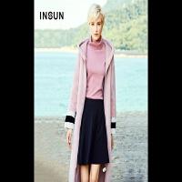 INSUN/恩裳气质修身保暖加厚撞色羊皮毛一体中长款皮草外套