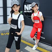 女童夏季套装童装夏装女孩背带裤中大童时尚8韩版休闲两件套