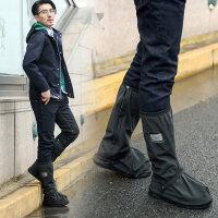 高筒防雨鞋套加厚耐磨男摩托车防滑便携防水脚套男女雨天户外 黑色