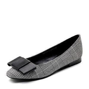 BASTO/百思图2018春季专柜同款纺织品/牛皮革蝴蝶结格纹浅口女单鞋A4191AQ8