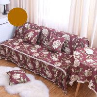 通用无扶手沙发床套罩巾折叠二三人组合沙发全包全盖布艺简约现代 酒红色 妮蒂娅-红