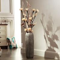 陶瓷落地大花瓶简约现代客厅欧式创意家居仿真花大厅陶罐插花摆件 +三叉木玉米花