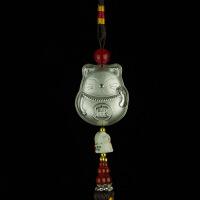 汽车装饰品创意猫银汽车挂件保平安符吊坠风水摆件纯银车挂饰品 猫+盒子