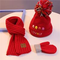 儿童帽子围巾秋冬宝宝婴儿加绒毛线帽男童小主可爱针织帽1-4岁 红色 加绒小章鱼 +红巾+红手套 均码