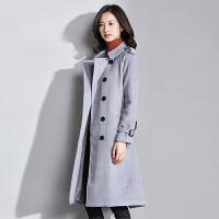 梵希蔓清仓新款韩版毛呢外套中长款双排扣修身呢子大衣