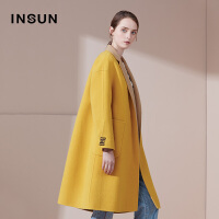 INSUN/恩裳商场同款气质100%羊毛廓形西装翻领中长款呢子大衣