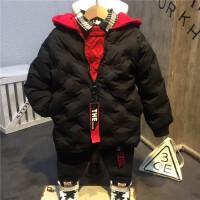 韩国童装新品男童女童个性拼色帽子中长款保暖羽绒B8-T24